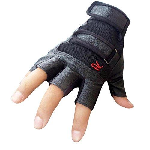 Culater Hombres táctico deportes al aire libre para bicicleta los medios guantes de cuero del dedo (Negro, tamaño
