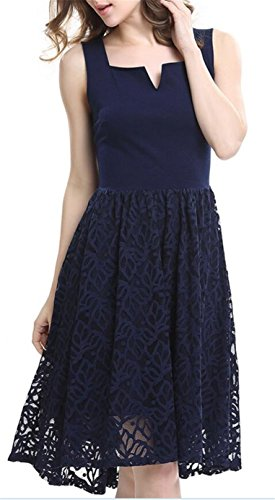 SHUNLIU 2017 Sommer Damen knielanges Spitzen Kleid Elegant Damen Spitzen  Sommerkleid ärmellos Einfarbig knielanges festliches Minikleid ...