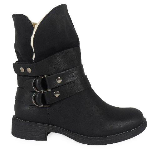 LoudLook Neue Damen Ankle Buckle Damen Fleece Winterschuhe Arbeitsstiefel Größe 3-8 Black