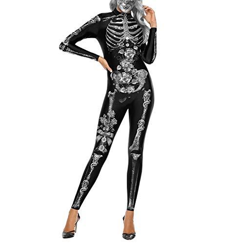 Skelett Braut Halloween Kostüm - Petalum Skelett Overall Damen Halloween Karneval