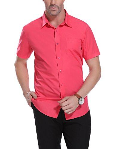 iClosam Kurzarm Hemden Slim Fit Herren Reine Farbe Hemd Einer Brusttasche Ausgestattet Für Anzug, Business, Büro,Freizeit, Hochzeit.