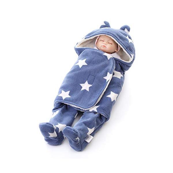 Manta infantil Bebe invierno Saco de dormir bebé recién nacido Nido de ángel Bebé recién nacido Unisex abrigado Vellón…