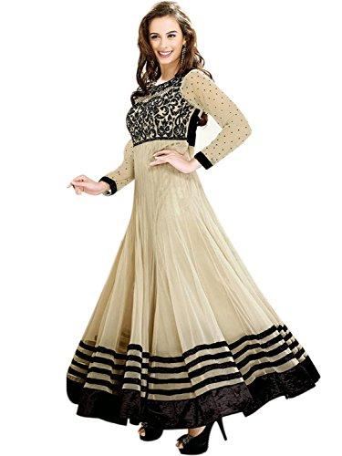 FenaPrime Women\'s Off-White Georgette Anarkali Dress Material HFP1015