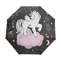 Umbrella Customize 3 Folds Unicorn Princess Cloud Space Windproof Auto Open Close Lightweight Anti-UV