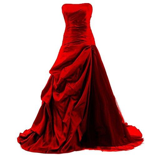 O.D.W Longue Couleur Retro Robes de Mariage Gothique Robe de MarišŠe Vintage Femme Rouge 50