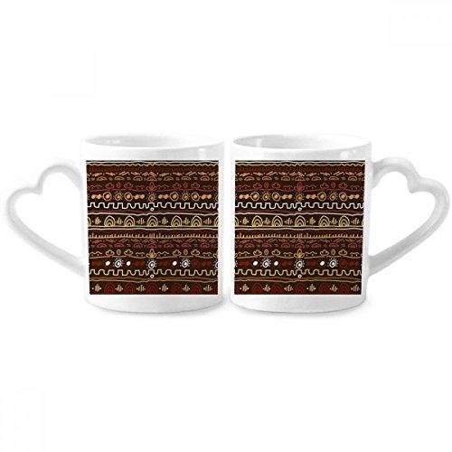 DIYthinker Afrika Primitive eingeborene Art Tribal Paar Tassen Keramik-Liebhaber Becher Herz Griff 12 Unzen Geschenk Mehrfarbig
