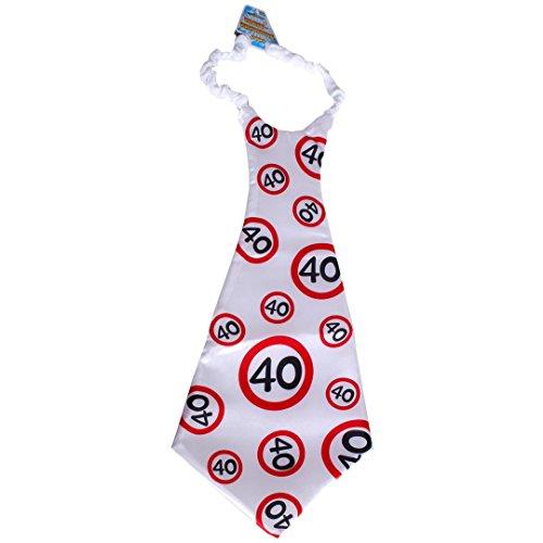 """Riesen Krawatte """"40"""" im Warnschild Design Birthday Geburtstag Party Geschenk Gag"""