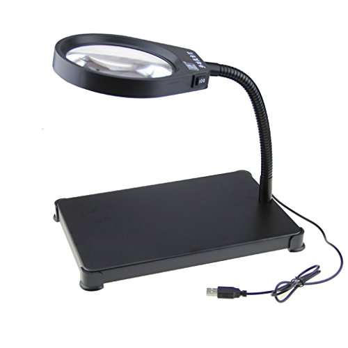 Sehhilfen LED 8 Lupen-Zeiten Desktop-Lupe, hohe Vergrößerung der Glühbirne, geeignet für ältere Menschen Lesen/Wartung Bürobedarf