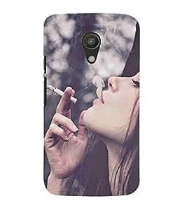 For Motorola Moto G2 :: Motorola Moto G (2nd Gen) cute girl, smoke girl, girl smoking, smoke Designer Printed High Quality Smooth Matte Protective Mobile Case Back Pouch Cover by APEX