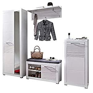 LIFE Garderoben Set, weiss hochglanz – moderne Flurgarderobe für Ihren Eingangsbereich – 246 x 201 x 37 cm (B/H/T)