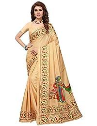 PRAMUKH STORE Kalamkari 8 Cream Saree For Women's Soft Art Khadi Silk Saree With Blouse Piece, Cream And Multi...