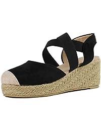 b17272a09c5819 Yvelands Damen Sandalen Mode Gummiband Keile Sandalen Plattform Runde Zehe  Schuh