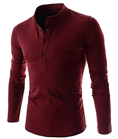 CHENGYANG Mens Casual Slim Fit Henley Shirts with Pocket V-Neck