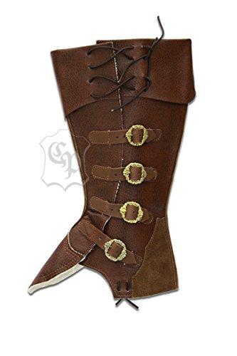 Stiefelstulpen Pirat Kostüme Erwachsene Braun (LARP Gamaschen Stiefelstulpen Pirat Musketier Mittelalter Karneval Fasching (XL,)