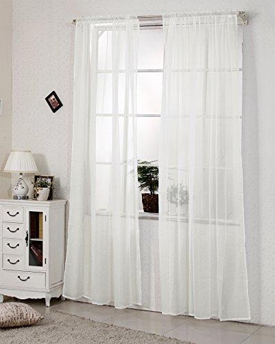 EUGAD 2er Set Gardine Vorhang mit 50mm Kräuselband transparent einfarbige Storesnschals Fensterschal Dekoschal 140x225cm Creme VH5515cm-2