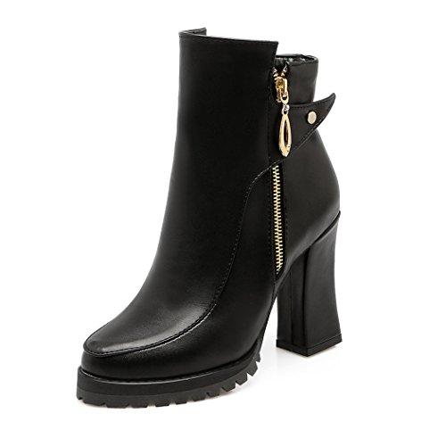 ZQ@QX Herbst und Winter runden Kopf fett und stilvolle große Zahlen in Europa und Nordamerika, die high-heel Schuhe Frauen Schuhe, Schwarz, 34