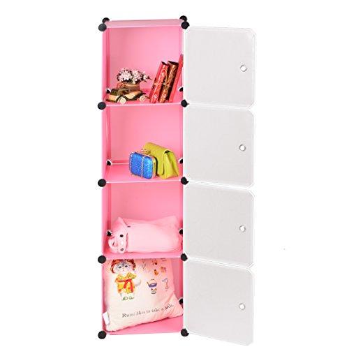Homdox Regal Standregal Schrank Kleiderschrank Garderobenschrank Regalsystem (4 Gitter Pink)