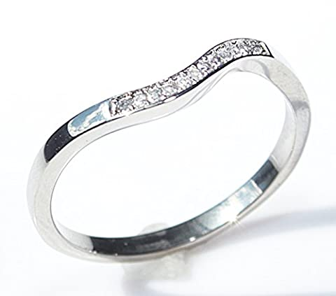 Ah! Jewellery Women's . World Class Quality Top Grade Simulated Diamonds Stainless Steel Ring Accented With 11 Tiny Brilliant Rounds. 1.5GR Total Weight. Outstanding Quality. Never Tarnish
