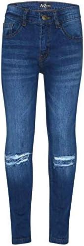 A2Z 4 Kids Bambini Ragazzi Magro Jeans Progettista Denim Ginocchio Strappato Moda Biker Pantaloni Faded Bottom