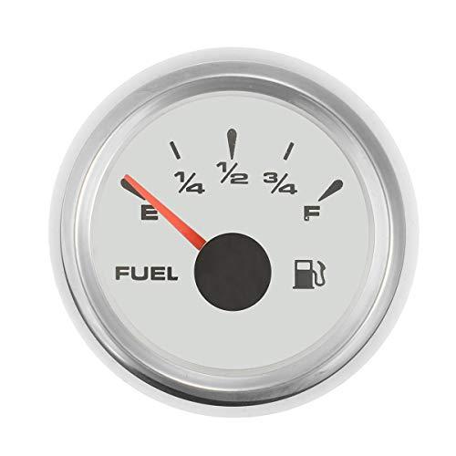 RENCALO 9~32V 52MM IP67 Indicatore Livello Carburante indicatore Serbatoio 5 Tipi di Barca in Acciaio Inox 316L-Argento Bianco