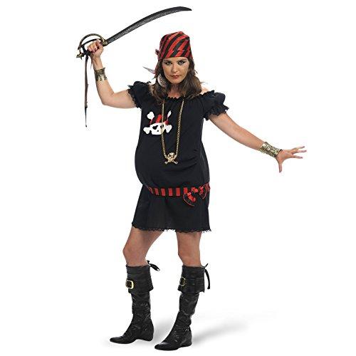 Frau Kostüme Schwangere (Piratin Kostüm Klassiker für Schwangere Umstandsmode 2-teilig Kleid mit Kopftuch -)
