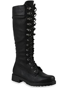 Stiefelparadies Damen Schnürstiefel Worker Boots Profilsohle Combat Boots Stiefel Leder-Optik Schuhe Blockabsatz...