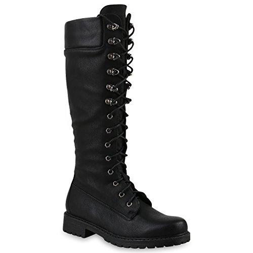 Damen Stiefel Profilsohle Blockabsatz Schnürstiefel Schuhe 145691 Schwarz 36 Flandell