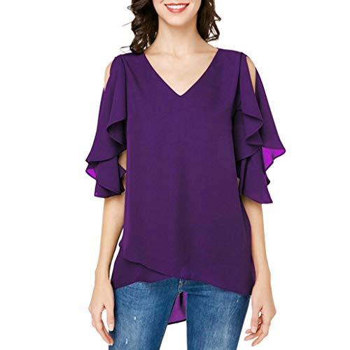 Yvelands Damen T-Shirt Lässige Solid Color trägerlosen halben Hülse V-Ausschnitt lose Bluse Top(Lila,CN-L)
