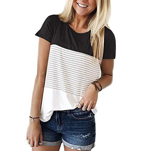 BesserBay Damen T Shirt Gestreift Kurzarm Oberteil Sommer Tops Schwarz 40 -
