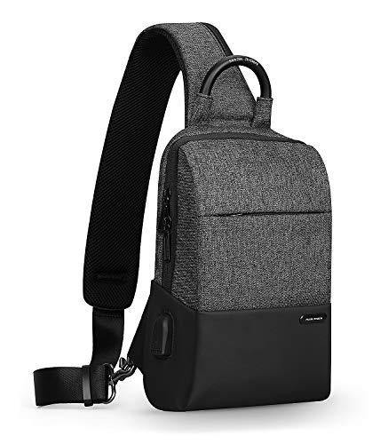 Mark Ryden Anti-Diebstahl-Sling-Schulter-Umhängetasche Rucksack Casual Day Pack Mit USB-Ladegerät Für Männer Frauen (Grau-Neu)