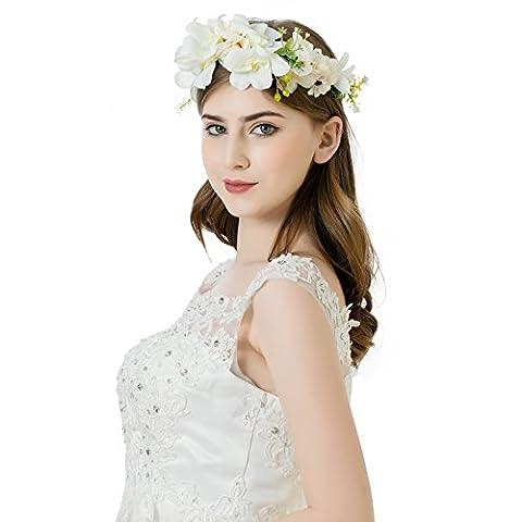 AWAYTR Blumen Stirnband Hochzeit Haarkranz Blume Krone (Cremeweiß)