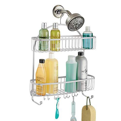 mDesign Duschablage zum Hängen - ohne Bohren zu montieren, Edelstahl