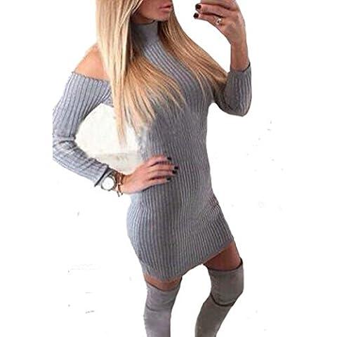 Ajustado de las mujeres del hombro de manga larga de cuello alto con cuello vuelto Off vestido delgado suéter de punto