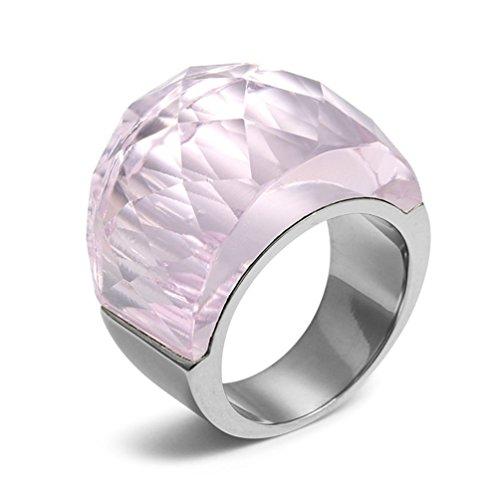 PMTIER Damen Edelstahl Cocktail Party Swarovski Element Kristall Ring Rosa Größe 57 (Mädchen Rosa Ring)