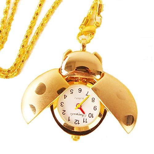 e Marienkäfer Cartoon offene Flügel Anhänger Uhr, Silber und Bronze Stahl Quarz Fob Taschenuhr Halskette, Kleidung Kleid Kollokation, beste Willkommensgeschenk für Lady Frauen Mädch ()