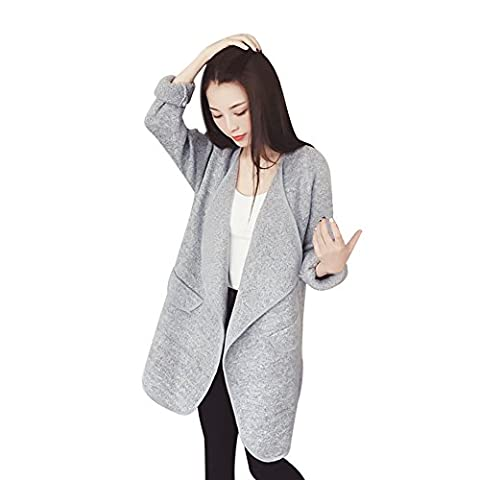 Eleery Veste Manteau Femme Parkas Jacket Sweater Cardigan Manches Longues Sexy Casual Chaud Automne Hiver (Gris)