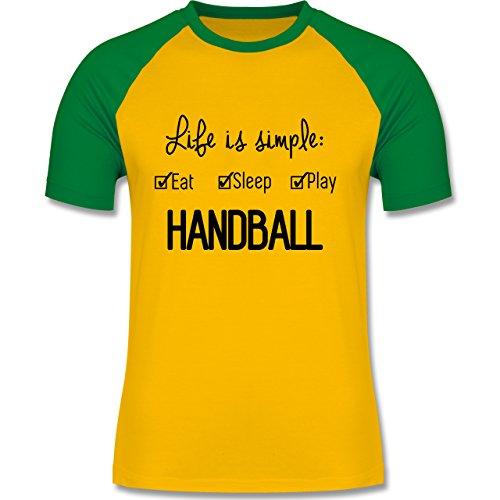 Handball - Life is simple Handball - zweifarbiges Baseballshirt für Männer Gelb/Grün