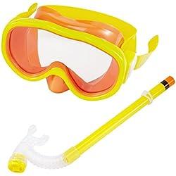 Masque Tuba de plongée pour enfant avec masque de plongée & schnorche Dry Tuba Tuba Masque de plongée avec Purge et anti buée Lunettes, jaune