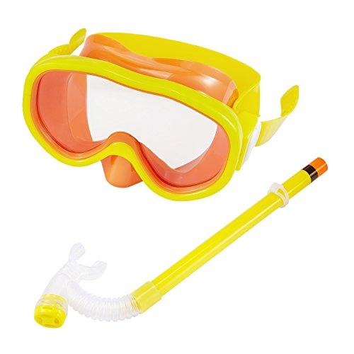 Kinder Schnorchel Set, Kuyou Kinder Schwimmbrille Halbtrockener Schnorchel-Ausrüstung mit Tube für Jungen und Mädchen Advanced Schnorcheln Gear 5 bis 8 Jahre alt (gelb)