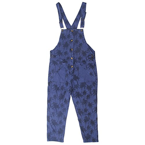 SiDiOU Group Damen Casual Printed Baggy Hose Weite Bein Latzhosen Baumwolle Spielanzug Jumpsuit Spielanzug Style 3-Blau