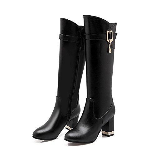 AgooLar Damen PU Mitte-Spitze Rein Reißverschluss Blockabsatz Stiefel mit Anhänger, Grau, 38