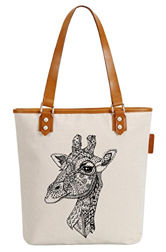 So'each Women's Giraffe Geometry Canvas Tote Pearly Top Handle Shoulder Bag