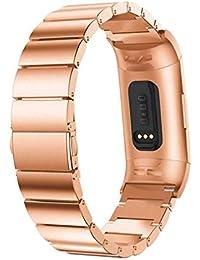 Scpink Fitbit Charge 3 Correas Metal Pulsera de Acero Inoxidable Pulsera de reemplazo Comercial Correa para Fitbit Charge 3 Smartwatch (Oro Rosa)