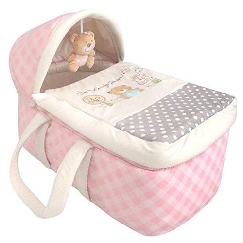 Krippe-Reise-tragbarer Schlafkorb-Multifunktionsspeicher-faltende Krippe verwendbar für 0 bis 12 Monate Baby (Farbe : Pink)
