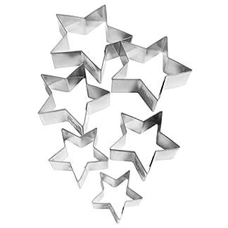 Dr. Oetker 1061 – Set 6 Cortadores Galletas Estrella Ø4-9×2,5cm., en acero estañado