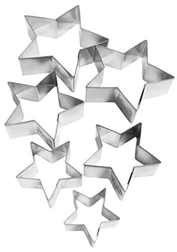 """Dr. Oetker 6er Ausstecher-Set """"Sterne"""", Ausstechformen für Weihnachten, Ausstecher für Plätzchen und Terassenkekse, Motiv in unterschiedlichen Größen, Menge: 1 x 6er Set"""