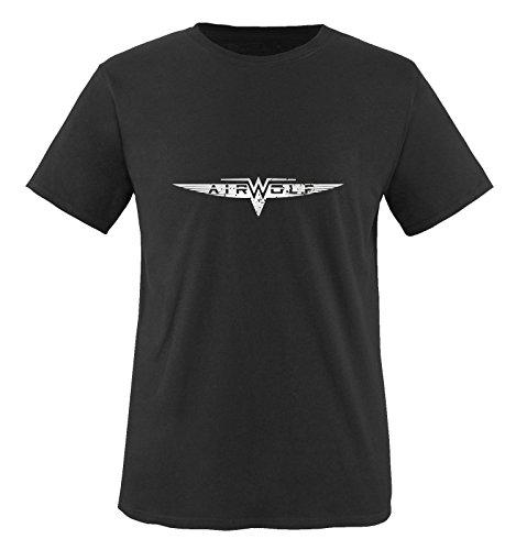 AIRWOLF - LOGO - Herren T-Shirt by Comedy Shirts Schwarz / Siber