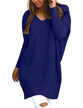 StyleDome Donna Maglietta Manica Lunga Collo V T-Shirt Loose Moda Elegante Maglie Top