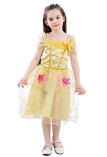 Pretty princess bambine ragazza giallo belle principessa abito costumi rosa fiore tulle vestito 6-7 anni