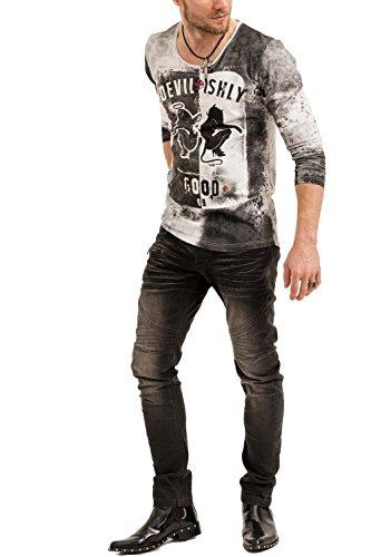 trueprodigy Casual Herren Marken Long Sleeve mit Aufdruck, Oberteil cool und stylisch mit Rundhals (Langarm & Slim Fit), Langarmshirt für Männer bedruckt Farbe: Weiß 1073165-2000 White